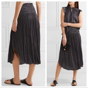 Ulla Johnson Akani plissé washed satin midi skirt